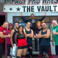 Outside our training facility The Vault From L to R Johnny Fitness, James Jeffries, Sparrow, Miss Frankie Jay, Aron Von Baron, Austin Aries, Ricky Love, Ugly, TS Agressor
