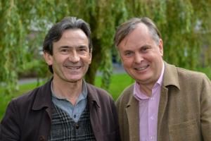 Benoit Peeters (left) with Professor Simon Guy